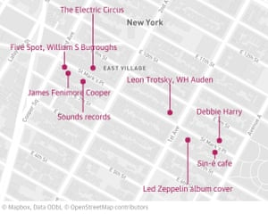 Some of the notable people and places of St Marks Place that Calhoun writes about in her book.