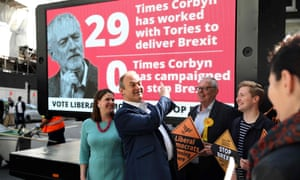 The Lib Dems unveil an election poster criticising Jeremy Corbyn's Brexit stance