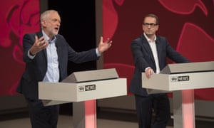 Jeremy Corbyn debating with Owen Smith.