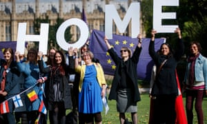 A protest last year outside parliament about the post-Brexit rights of EU citizens living in the UK.
