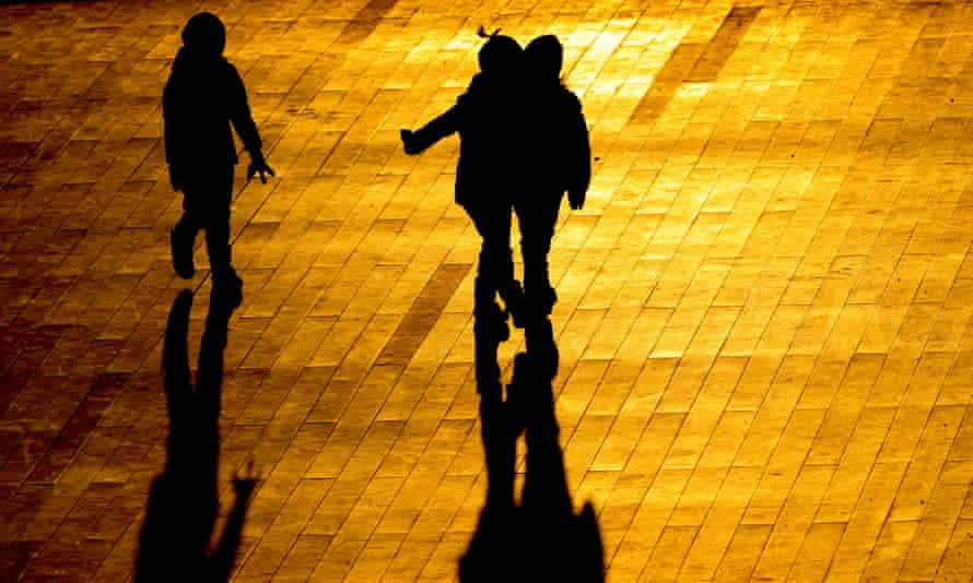 The silhouettes of children in Zaryadye Park in Moscow