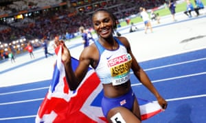 Dina Asher-Smith celebrates winning 200 metre gold at the European Championships in August.