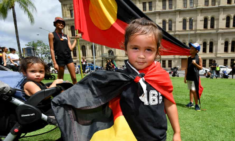3 year old Jre Simpson from Moree is seen during the Invasion Day rally in Brisbane, Sunday, January 26, 2020.