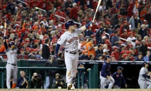 Alex Bregman watches as his his home run clears the fences at Nationals Park