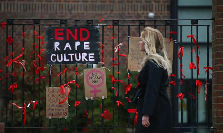 Placards highlighting the issue of sexual abuse on the fence outside James Allen's girls' school in Dulwich, south London