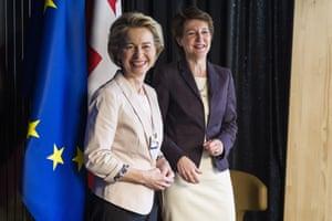 Swiss president Simonetta Sommaruga, right, welcomes European commission president Ursula von der Leyen