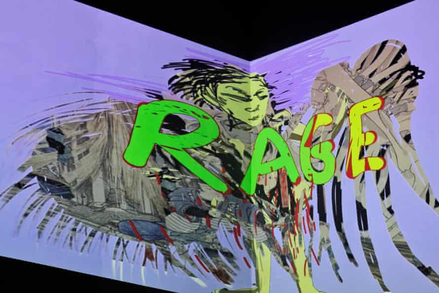 One image from Malani's nine-projector installation with 88 stop-motion animations.