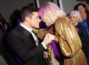 Rami Malek and Lucy Boynton attend the FOX/HULU Golden Globe Awards viewing party and post-show celebration at The Beverly Hilton Hotel