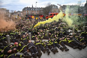 Firefighters gather in Strasbourg, France, to protest against recent attacks on colleagues
