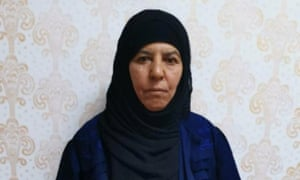Picture provided by Turkish officials of who they say is Rasmiya Awad, the sister of slain Isis leader Abu Bakr al-Baghdadi.