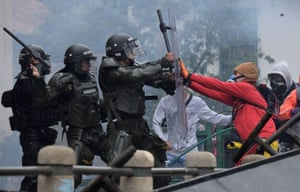 Demonstrators clash with police in Bogotá