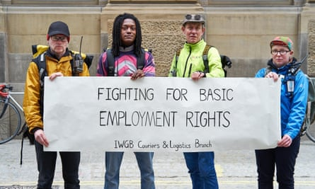 Maggie Dewhurst (far right) with other bike couriers campaigning against employment practices in London.