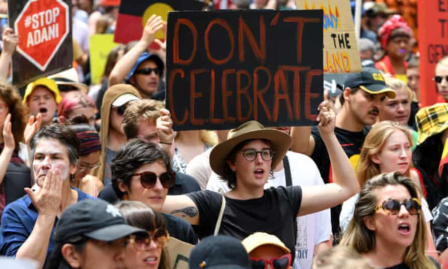 Protesters at last year's Invasion Day rally.