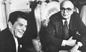 Paul Volcker, right, meeting President Ronald Reagan in the White House in Washington, 1981. Volcker was appointed chairman of the Federal Reserve board by President Jimmy Carter and reappointed by Reagan.