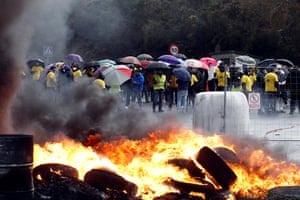 Siemens-Gamesa workers protest against the possible closure of their plant in Somozas, Spain