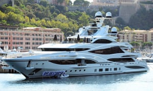 Pranksters rename Green's £100m superyacht the BHS Destroyer in2016.