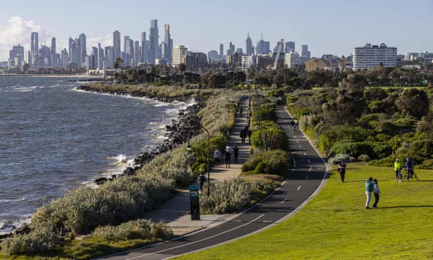 People are seen exercising in St Kilda, Melbourne