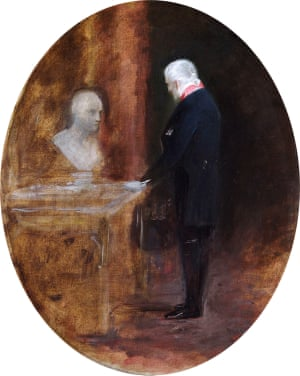 """The first Duke of Wellington Looking at a Bust of Napoleon, 19th century, Charles Robert Leslie (1794-1859),  English Heritage, the Wellington Collection, Apsley House"""