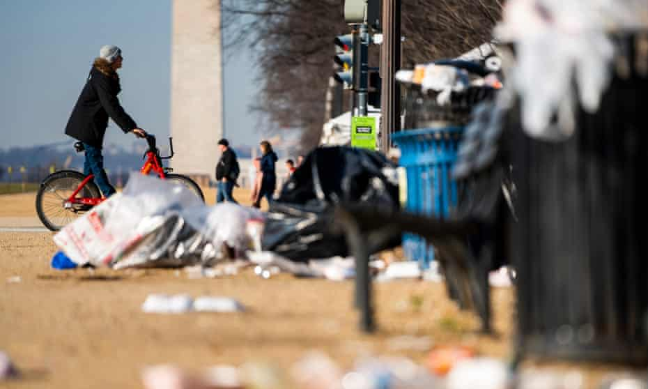 Trash on the National Mall on the fifth day of a partial federal shutdown in Washington DC, 26 December 2018.