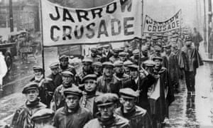 The Jarrow Crusade against unemployment in 1936.