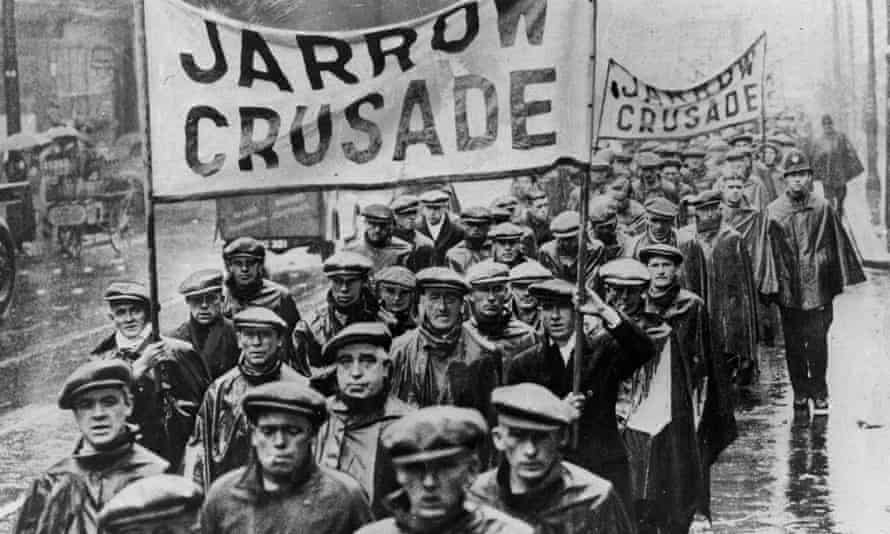 Jarrow Crusade marchers protest against mass unemployment in 1936.