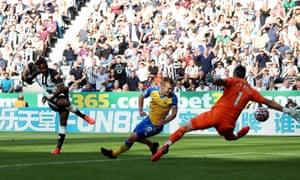 Newcastle United's Allan Saint-Maximin scores their second goal.