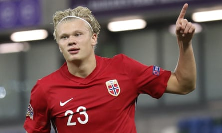 Norway's Erling Braut Haaland celebrates his first goal against Northern Ireland at Windsor Park on Monday.