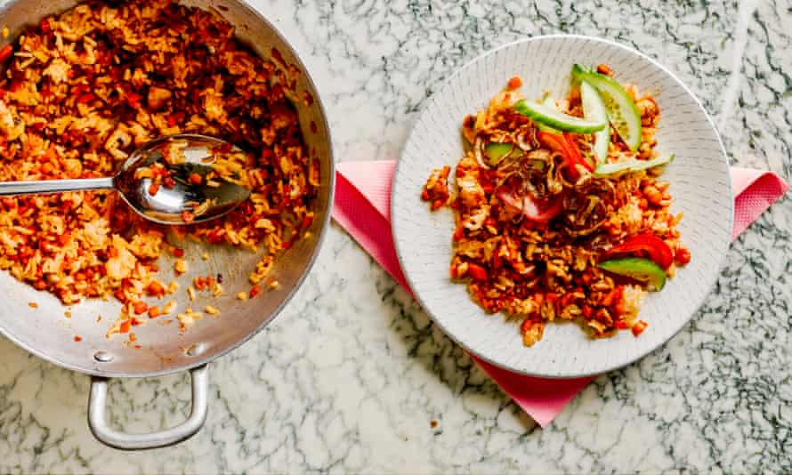 A plate of nasi goreng