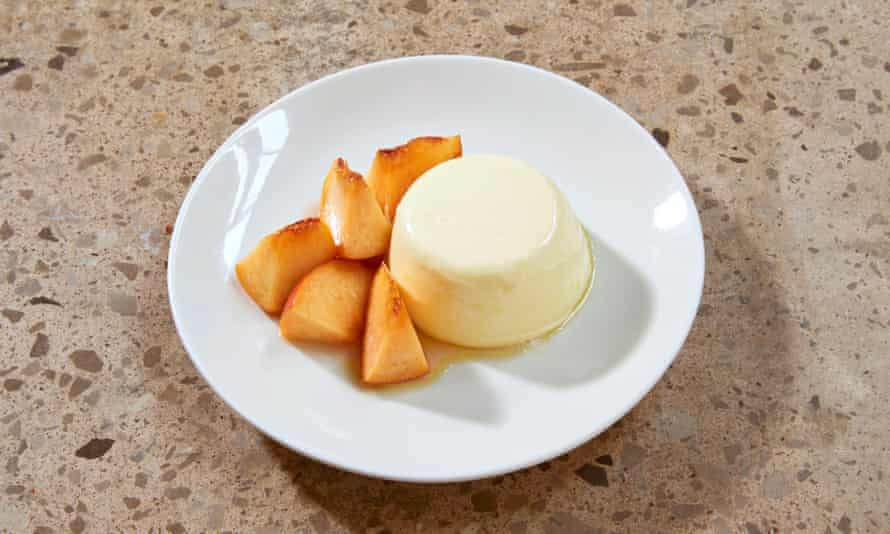 'The texture is perfect': panna cotta with nectarines.