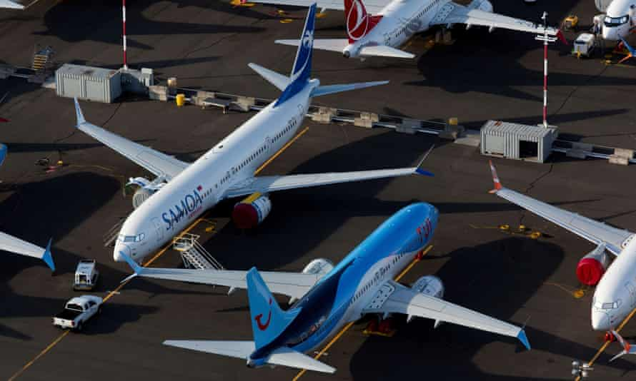 Boeing 737 Max aircraft parked in a lot at Boeing Field in Seattle, Washington.