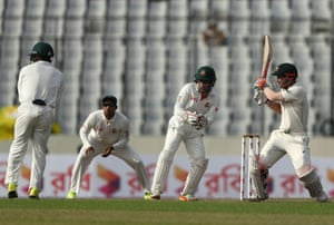 David Warner of Australia bats during day three of the First Test match between Bangladesh and Australia.