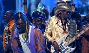 Bernie Worrell, centre, performing with Parliament/Funkadelic at the Grammy awards show, 2004.