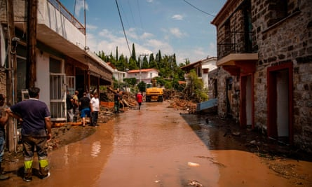 A flooded street in the village of Politika, on Evia island, after the storm