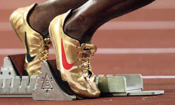 Michael Johnson's feet at the starting block
