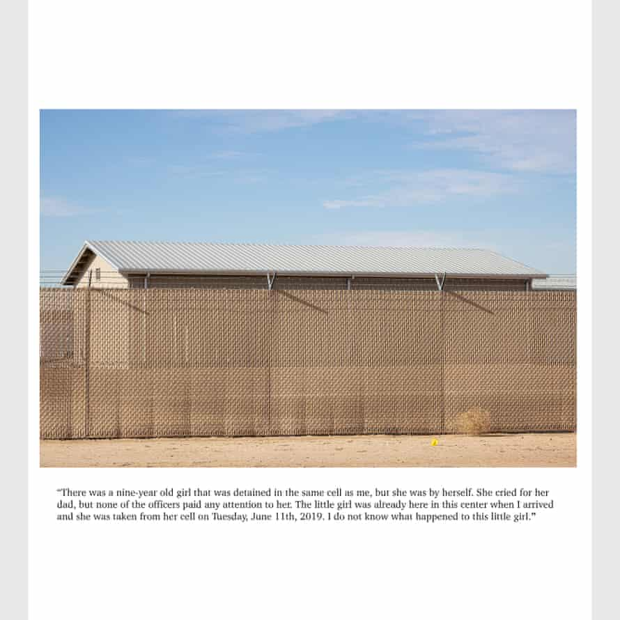 """Page 57,58, 59—a girl and her niece, June 12, 2019: """"There was a nine-year-old little girl that was detained in the same cell as me, but she was by herself. She cried for her dad, but none of the officers paid any attention to her. The little girl was already here in this center when I arrived and she was taken from the cell on Tuesday, June 11,2019. I do not know what has happened to this little girl."""" Copyright Spencer Ostrander. All images courtesy of DYKWTCA, Mary Ellen Carroll, and Lucas Michael."""
