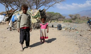 Yemeni children at a camp for internally displaced people on the outskirts of the southern city of Taez