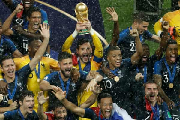 Winning the World Cup with France in 2018 in Moscow.