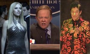 Scarlett Johansson as Ivanka Trump, Melissa McCarthy as Sean Spice and Tom Hanks as David S Pumpkins.