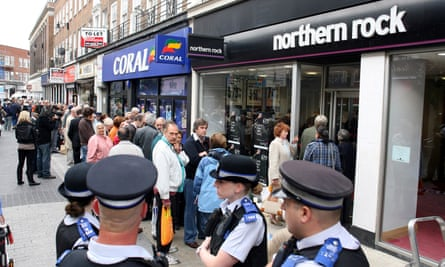 Queues at a Northern Rock branch in Kingston, west London.