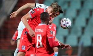Portugal's Joao Palhinha scores their third goal.