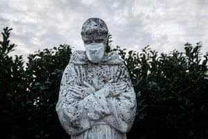 San Fiorano, Italy. A statue of Italy's patron saint, St Francis