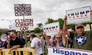 Trump supports at a Hillary Clinton event in Miami, Florida