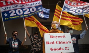 Vietnamese-American activists against the Chinese communist party protest outside of China's Consulate before its closure in Houston.