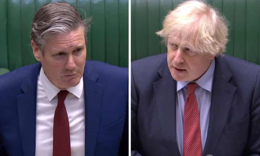 Up and down, Starmer and Johnson.