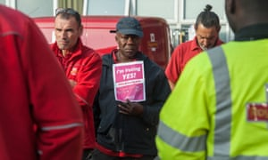 Royal Mail workers at the Hornsey Road sorting office in north London