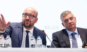 Prime minister Charles Michel and defence minister    Steven Vandeput at a press conference