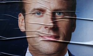 A campaign poster of Emmanuel Macron in Lille.