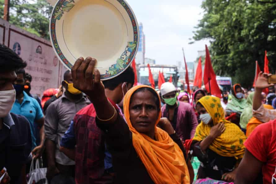Workers protest, demanding their unpaid wages, Dhaka, Bangladesh, June 2020.