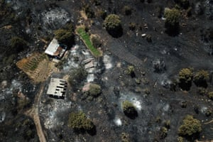 An aerial photograph shows a burnt area in the Marmaris district of Mugla province, Turkey