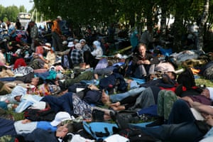 Pilgrims sleep in the village of Medyany